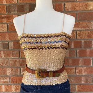 Vintage Union Made Tan Sequin Cropped Tank Top